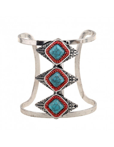 Bratara lata etnica tip cuff cu romburi si pietre de howlit turcoaz