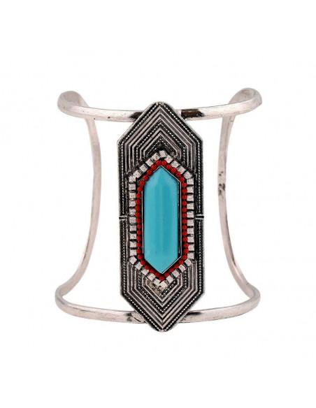 Bratara lata etnica tip cuff cu model geometric hexagonal turcoaz si margele