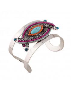 Bratara lata etnica cu model geometric impletit cu howlit si cristale