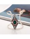 Bratara lata etnica tip cuff cu model geometric, romb cu cristal verde