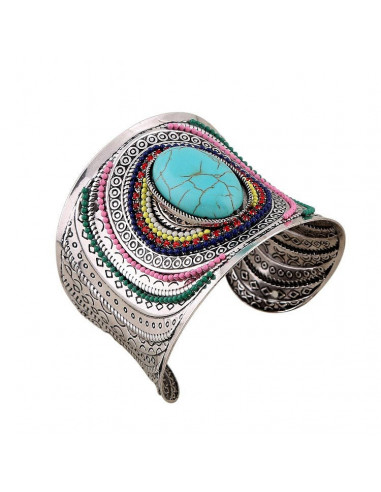 Bratara lata model indian cu howlit mare central margele si cristale multicolore