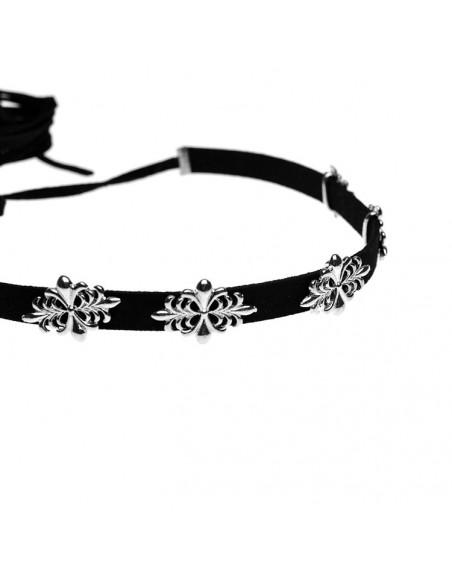 Colier choker negru, cu 5 medalioane metalice florale