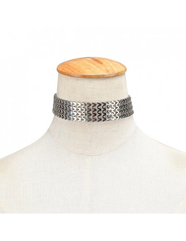 Colier choker elegant, Zig-Zag, din zale metalice articulate