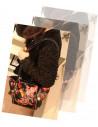 Geanta neagra, model cu imprimeu floral multicolor, din piele ecologica imprimata, prindere doar pe umar