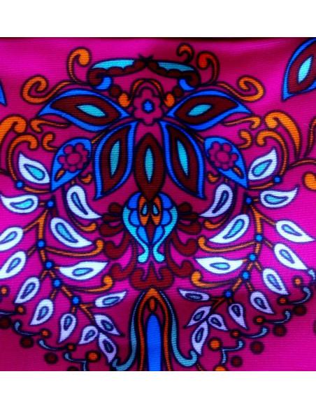 Costum de baie doua piese, magenta cu imprimeu floral boho