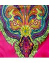 Costum de baie doua piese roz cu imprimeu floral si inele roz