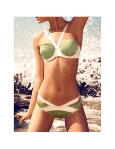 Costum de baie bandage push-up verde cu alb