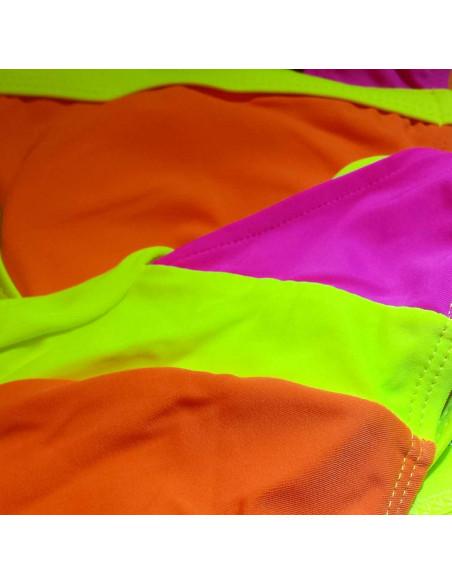 Costum de baie bandage din doua piese, galben cu corai