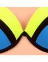 Costum de baie cu slip brazilian, galben cu negru si bleu