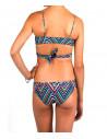 Costum de baie cu imprimeu geometric tribal / verde