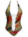 Costum de baie intreg cu imprimeu etnic multicolor si snur