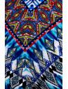 Costum de baie reversibil, rosu/ alb cu bleu si imprimeu etnic