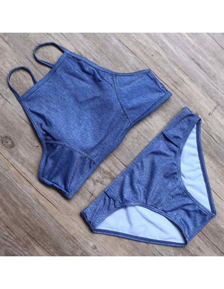 Costum de baie doua piese Jeans, albastru denim, cu bustiera