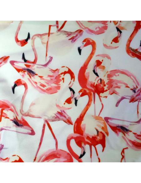 Costum de baie alb, cu volan mare si imprimeu Pink Flamingo