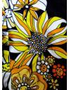 Costum de baie intreg negru, model floral galben si benzi late