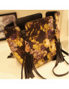 Geanta neagra, model cu imprimeu floral galben, din piele ecologica imprimata, prindere doar pe umar