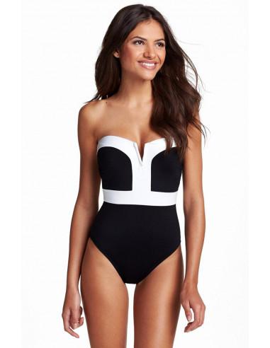 Costum de baie intreg elegant, negru cu alb si cupe formate