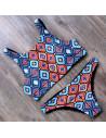 Costum de baie cu doua fete, imprimeu geometric si bustiera