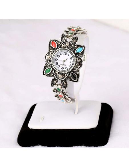 Ceas de mana cu cadran patrat floral cu cristale colorate si hematite