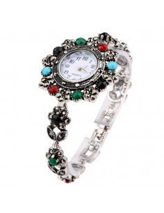 Ceas de mana vintage de dama, cadran si curea cu flori si cristale colorate