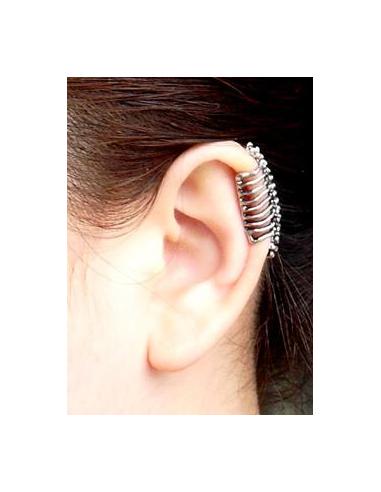 Cercel ear cuff, model schelet sira spinarii, prindere pe ureche