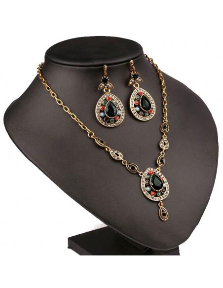 Set vintage cu cristale multicolore, medalioane lacrima cu piatra neagra