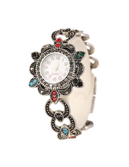 Ceas de mana vintage de dama, cadran flori si cristale colorate si curea cu cercuri