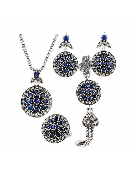 Set vintage cu cristale albastre, medalioane rotunde cu bordura