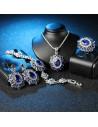 Inel vintage masiv, model baroc floare ovala cu cristale albastre