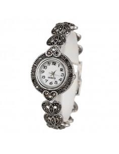 Ceas de mana de dama model vintage placat cu argint, cu bratara din inimioare si hematite