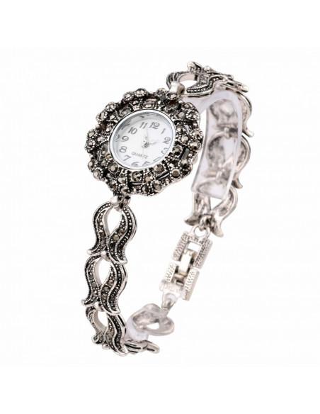 Ceas de mana de dama model vintage cu bratara din flori ondulate si hematite