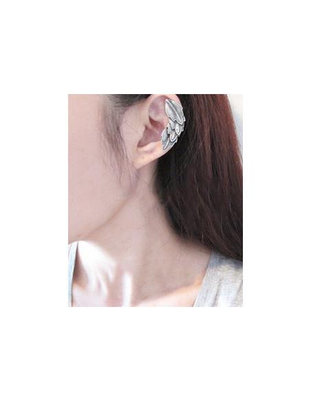 Cercel tip ear cuff, model cu multe pene mici, tip aripa, prindere pe ureche