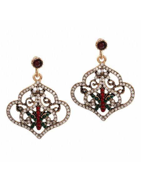 Set vintage cu cristale albe rosii si verzi, model turcesc cu fluture in centru