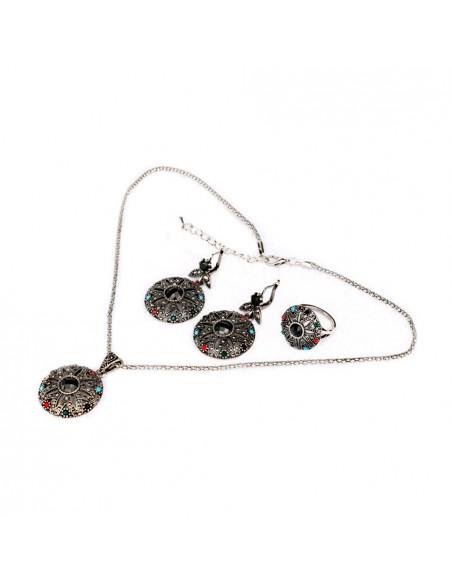 Set vintage colier si cercei model rotund cu cristale colorate si floare