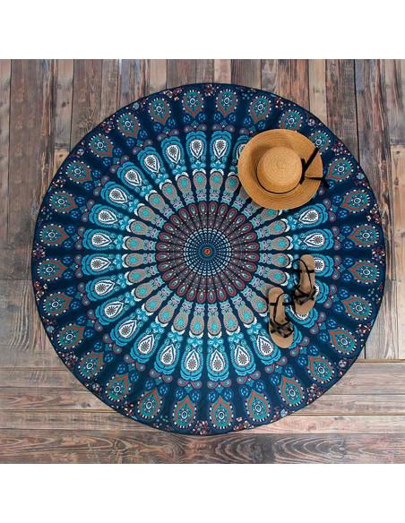 Cearceaf de plaja rotund, cu imprimeu mandala albastru