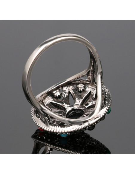 Inel argintiu vintage model rotund cu cristale colorate si floare