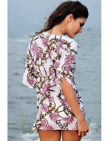 Bluza larga de plaja, model cu trandafiri roz si lanturi aurii