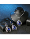 Set vintage cu cristale albe si albastre, medalion tip picatura cu cristal albastru marin