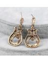 Cercei vintage aurii cu cristale colorate, model lira filigranata