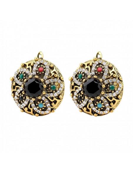 Cercei vintage rotunzi, model turcesc cu cristal central negru si floare