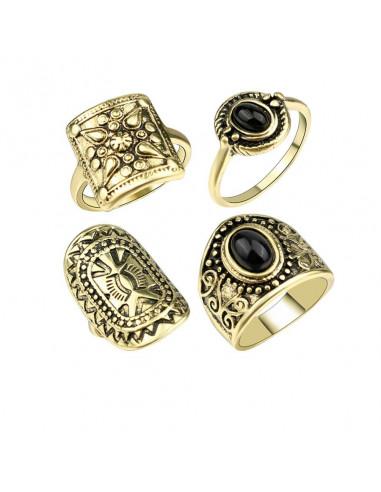 Set 4 inele etnice late, model geometric si floral, cu pietre negre