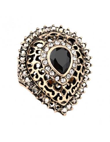Inel vintage elegant, model turcesc cu cristal central alungit tip lacrima