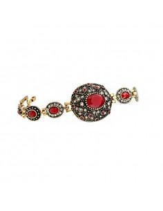 Bratara vintage eleganta, cristale rosii si albe si medalion oval bombat