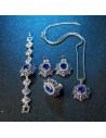 Bratara vintage eleganta, cristale albastre si albe si medalion floare
