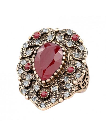 Inel vintage model baroc cu cristale albe si rosii, rama spiralata