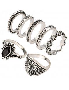 Set 7 inele etnice, diverse modele, cu cristale albe si negre