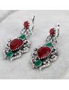 Cercei vintage, cu cristale colorate si frunzulite, rama ondulata, model turcesc