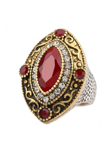 Inel vintage masiv, model oval cu cristale rosii, auriu cu argintiu