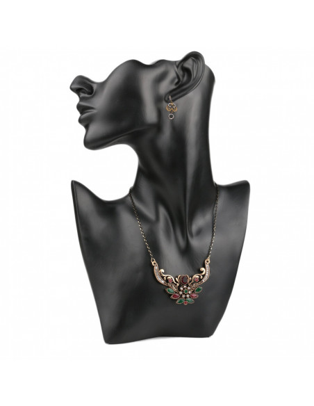 Set vintage colier elegant si cercei cu cristale si hematite, rama florala