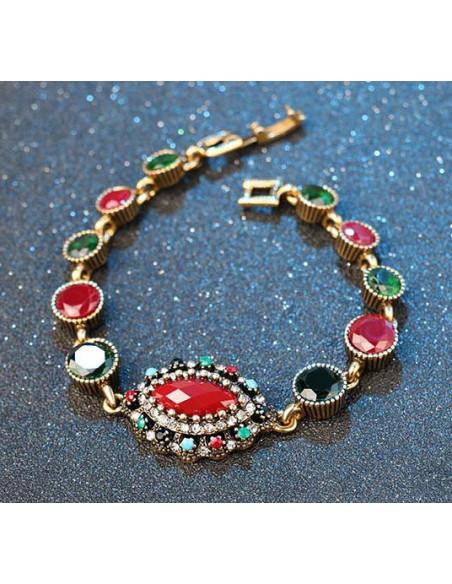 Bratara vintage cu cristale colorate rotunde mari si medalion oval